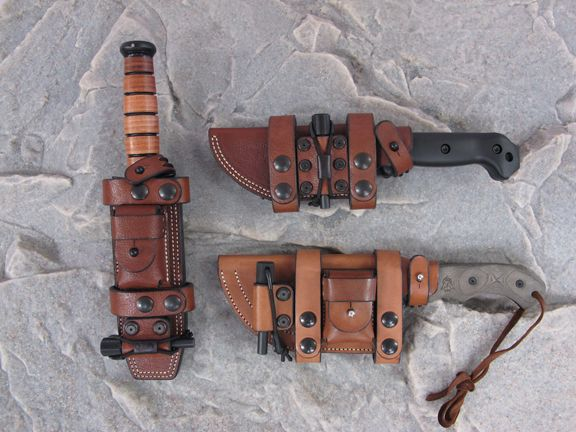 Ka-Bar, Tracker and Becker Knives in Hedge Hog Sheaths