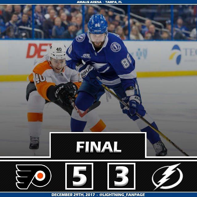 The Lightning fall short by a score of 5-3 to the Philadelphia Flyers. If you are going to blame Budaj for this game then clearly you didnt watch the game. All of the goals he allowed were unstoppable because defense didnt support him. The offense was lead by Steven Stamkos Brayden Point and Tyler Johnson. Ill have an update on Peter Budajs injury once I receive one. The boys will finish off the year on the road as they head to Columbus to take on the Blue Jackets on Sunday. - Box Score…