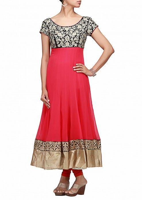A pink anarkali dress with pita embroidery on its yoke by B91 Exclusive