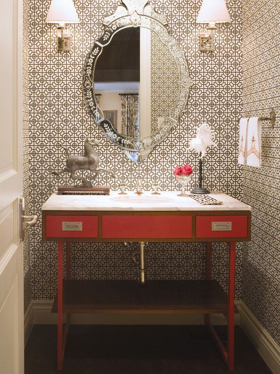 Bathroom Design, Awesome Powder Room Wallpaper With Beautiful Powder Room  Mirror Also Elegant Wall Lights