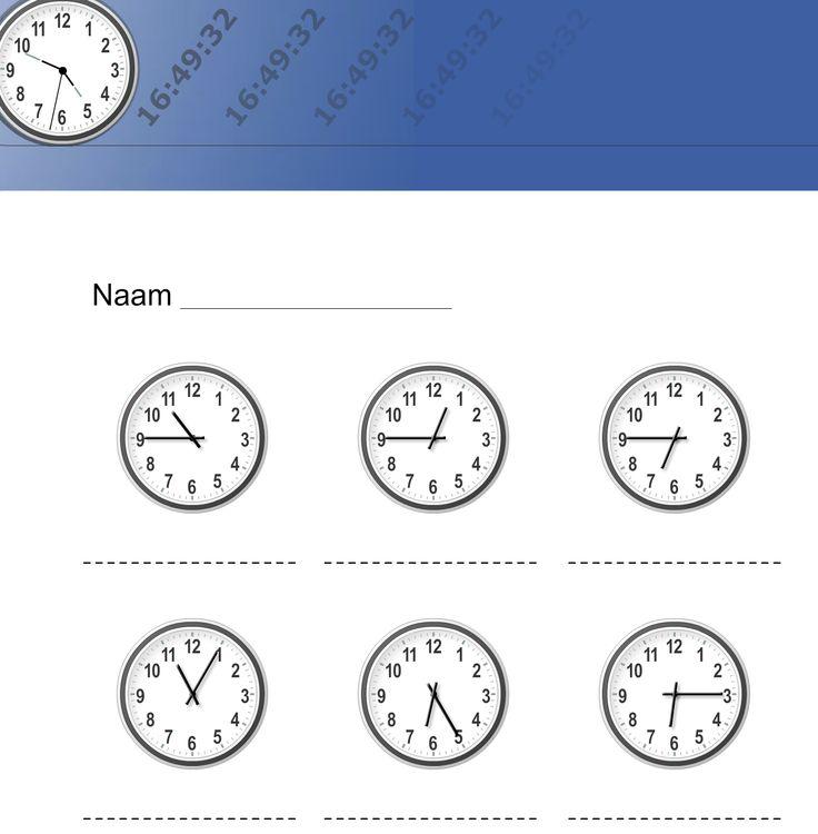 KLOK LEREN KIJKEN - super handig, vul zelf in wat je wil hebben, hele of halve uren 5 of 10 min en kwarten. En ook digitale klokken! http://www.klokrekenen.nl/