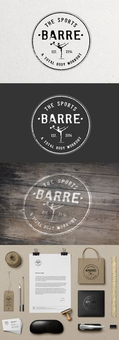Create a vintage inspired logo for a boutique fitness studio, THE SPORTS BARRE by Paula.DelMas