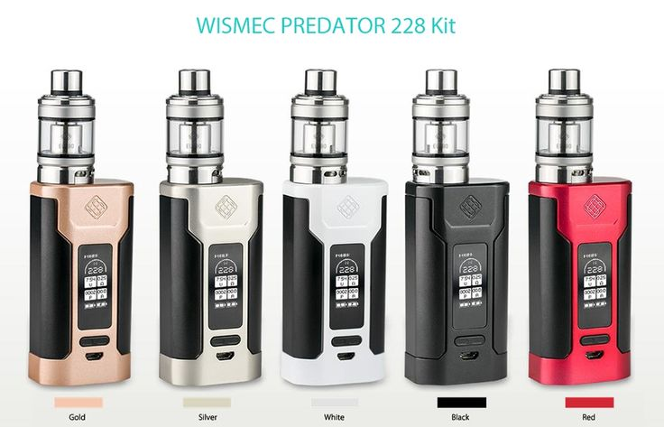 WISMEC PREDATOR 228 - 228W / 200 - 600F / 100 - 315C / 4.9ml Clearomizer.    Main Features:   WISMEC PREDATOR 228 Mod:   Supports 2pcs 18650 batteries ( not included )  Wattage range: 1 - 228W   TC range: 200 - 600 Deg.F / 100 - 315 Deg.C   Max charging current: 2A   Output voltage range: 0.5 - 9V   Resistance: 0.05 - 1.4 ohm ( TC modes ), 0.1 - 3.5 ohm ( VW mode )   Output modes: VW / TC - Ni / TC - Ti / TC - SS / TCR Mode   Material: zinc alloy   Thread: 510    WISMEC Elabo Clearomizer: …