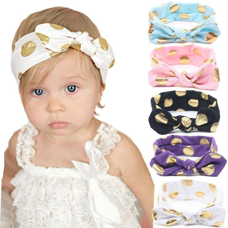 12 colors Baby Kids Toddler Polka Dots Printed Bow Knot Headbands Cute  Bowknot Headwrap Cross Knot Baby Turban Tie Knot Head wrap