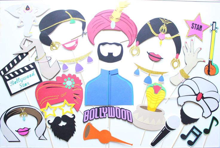 28pc  Bollywood Party Photobooth/Indian Party/Indian Movie Night/ Indian Weddinng by ThePartyGirlStudio on Etsy