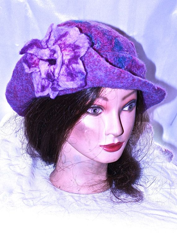 Felted Cloche Hat. Lavender and Purple Colored by MindfulPresents