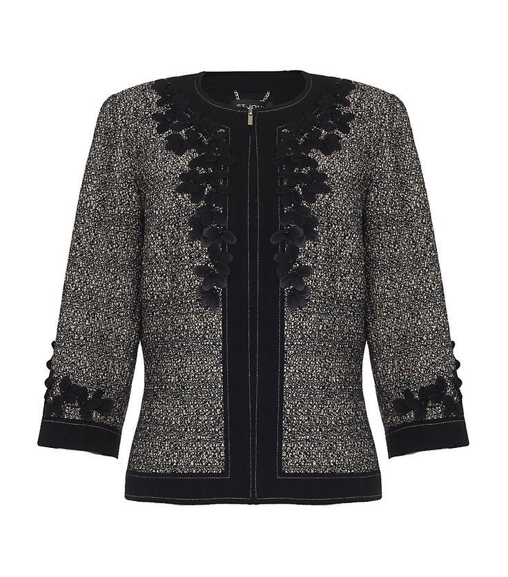 St. John Petal Appliqué Tweed Jacket in Gray (floral) | Lyst