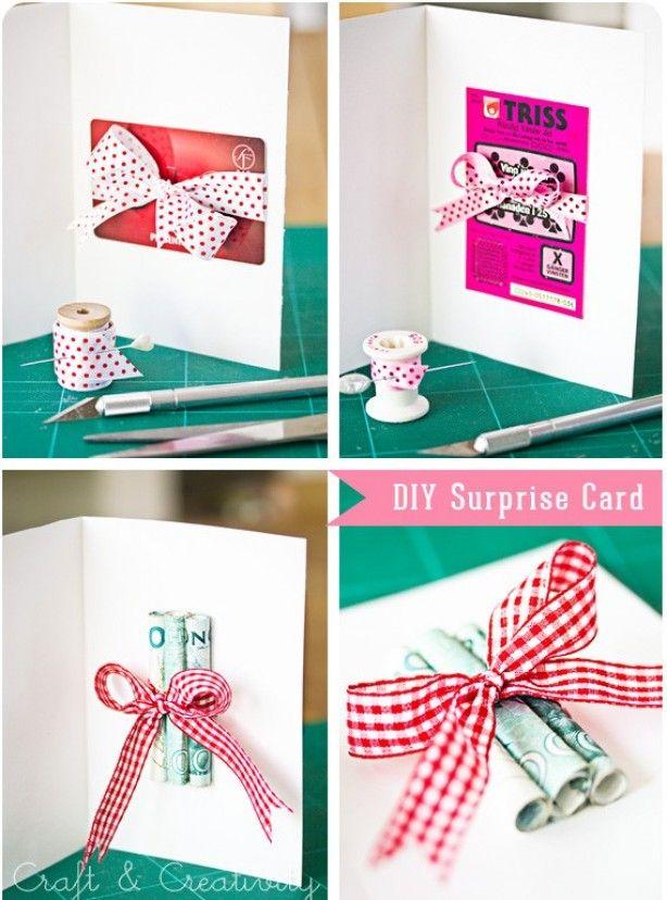 Leuk om zelf te maken voor cadeau.... ( met geld erin of een verrassend bon bv. een ticket voor een concert of cadeaubon )