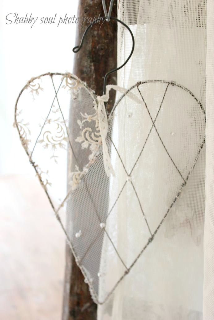Bent Hanger & Lace Heart