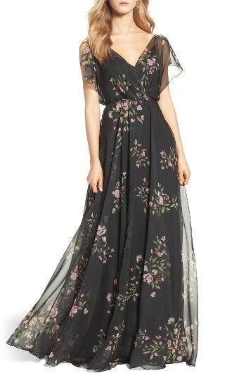 1930s Style Evening Dresses Womens Jenny Yoo Cassie Flutter Sleeve Surplice Gown Size 18 - Black $290.00 AT vintagedancer.com