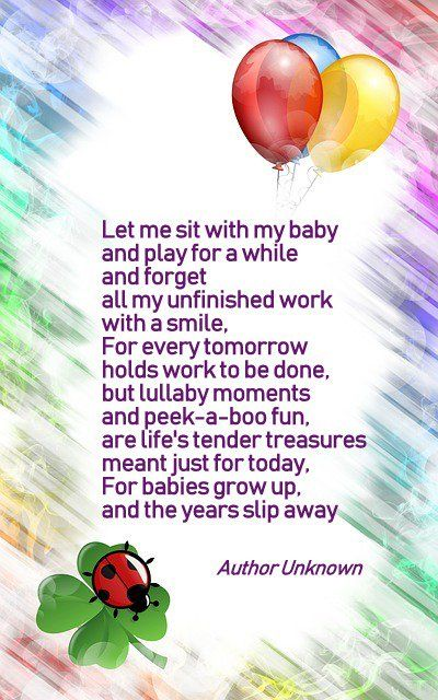 let me sit with my baby and play for a while poem author unknown card sayings you can write in a new baby card featured here