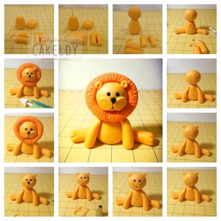 Como hacer un león en porcelana fria