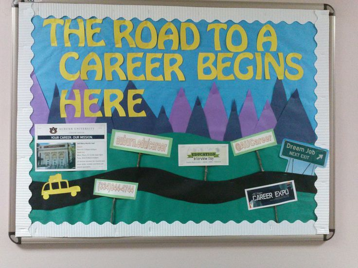 Academics Bulletin Board.  The road to a career begins here, with the many campus resources available for career development.  Great 3-D element using sticks!   via Leah in Burton Hall.