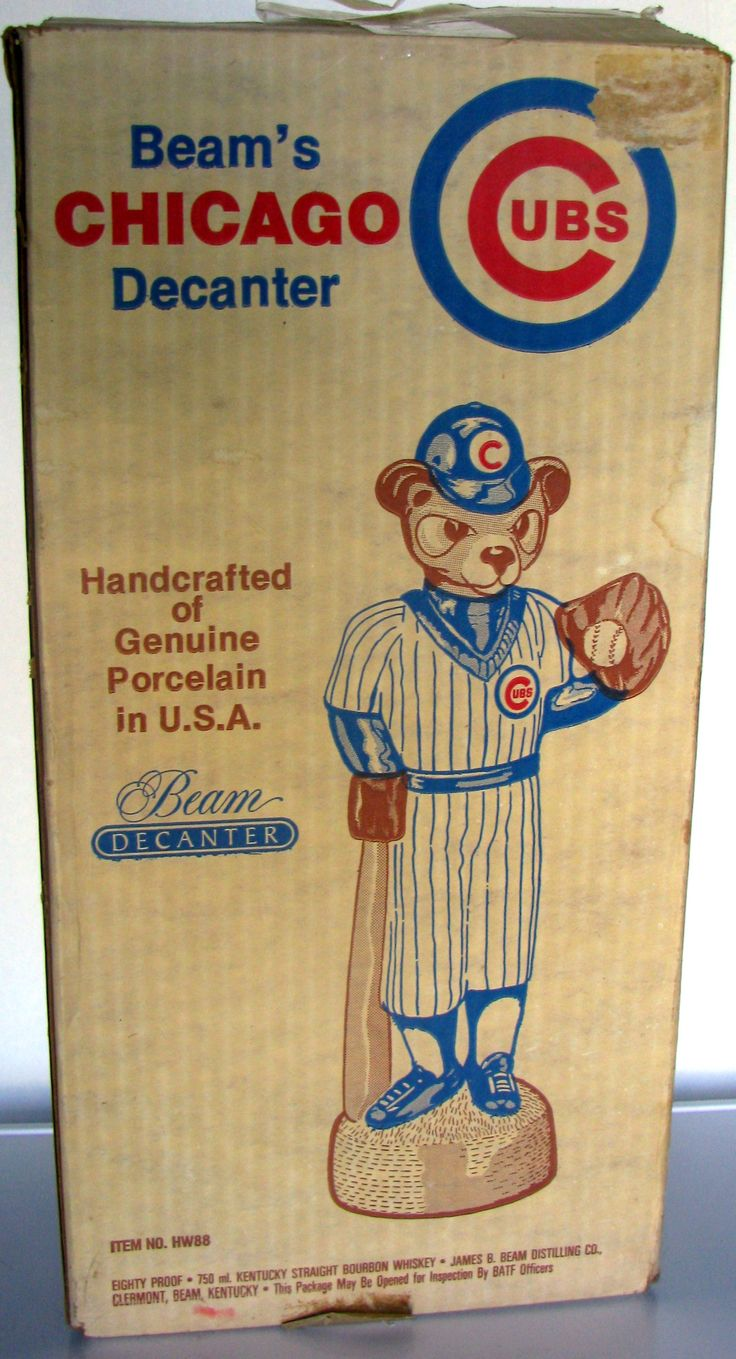 cubs 1984 | VINTAGE CHICAGO CUBS MASCOT DECANTER w/BOX