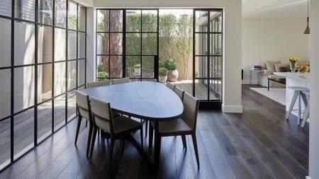 Oval shape table steel doors