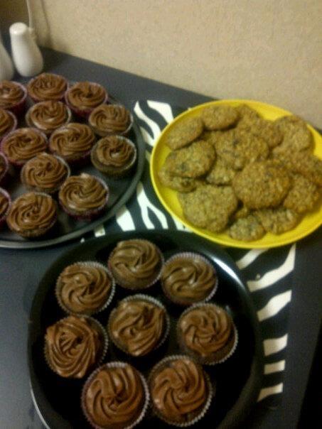 Triple chocolate cupcakes and oatmeal chocolate cookies