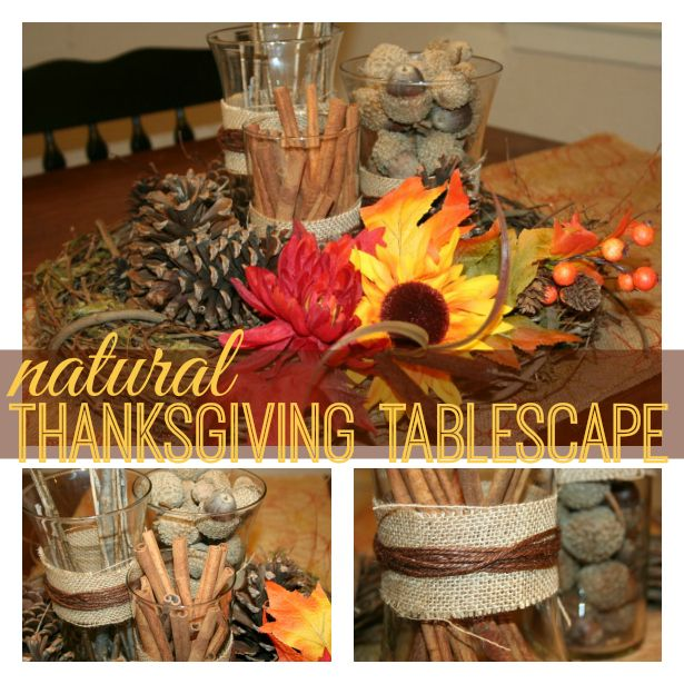 Natural Thanksgiving Table Decorations / Tablescape - LOVE THIS!  #turkeytablescapes