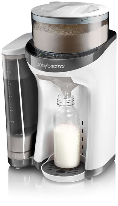 Baby Brezza Formula Pro.  Make bottles already mixed and at the right temp in seconds!