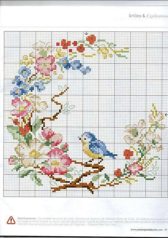 Cross stitch bird and flower wreath