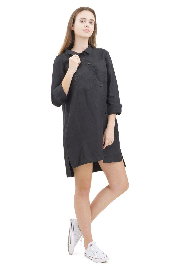 black asymmetric dress from flax  Pavel Yerokin