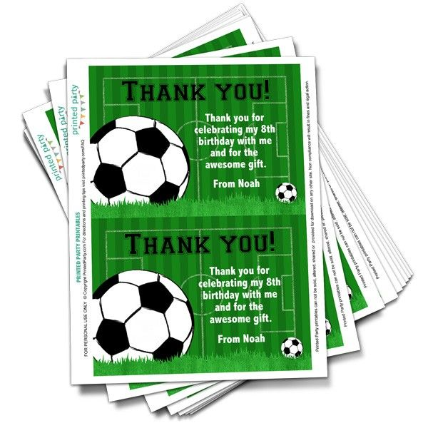 Printable Soccer Thank You Card Template Pertaining To Soccer Thank You Card Template In 2020 Thank You Card Template Printable Invitations Card Template