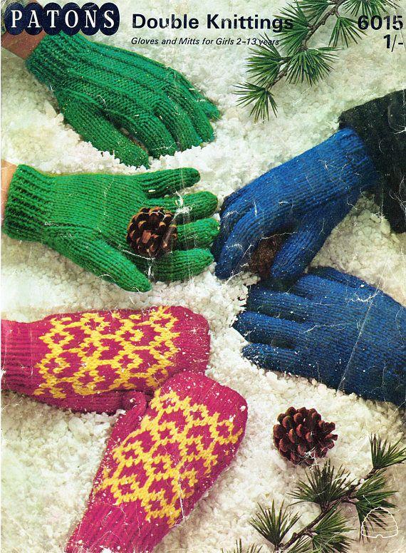 PDF Vintage Glove & Mitts Knitting Pattern Toddler Kids Girls