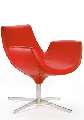 Beetle collection is a high quality leather swivel chair featuring refined finishes and bold colors, available in two versions with high and low backrest, and can be supplied with matching pouf. The shell is made of cold-foamed polyurethane upholstered in full-grain leather on a steel insert with swivel base featuring four aluminum or steel spokes.