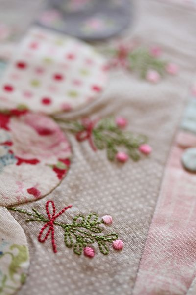 embroidery on patchwork and appliqué via Vignette Magazine | Leanne's House