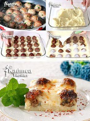 Patates Püreli Fırında Top Köfte Tarifi