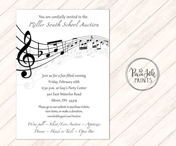 15 best music note invitations images on pinterest music lyrics music notes invitation musical party sheet music by pixieinkprints stopboris Gallery