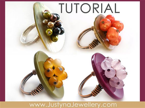 Bouton Tutoriel Ring, Bouton bijoux tutoriel, répétition de touches, fils Tutoriel Ring, Cocktail type de sonnerie, Instructions de bouton, boutons