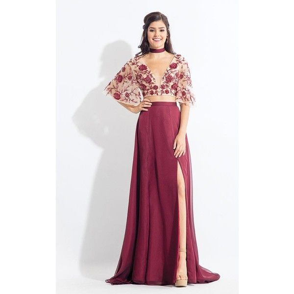 Rachel Allan 6157 Prom CutOut Dress Long V-Neck Long Sleeve (3.905 NOK) ❤ liked on Polyvore featuring dresses, gowns, formal dresses, marsala, white prom dresses, long sleeve gowns, formal evening dresses, white long sleeve dress and long sleeve prom dresses