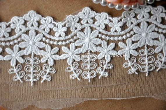 Tulle Lace Trim Flral Cotton Embroideried Lace 3.5 Inches Wide 2 yards