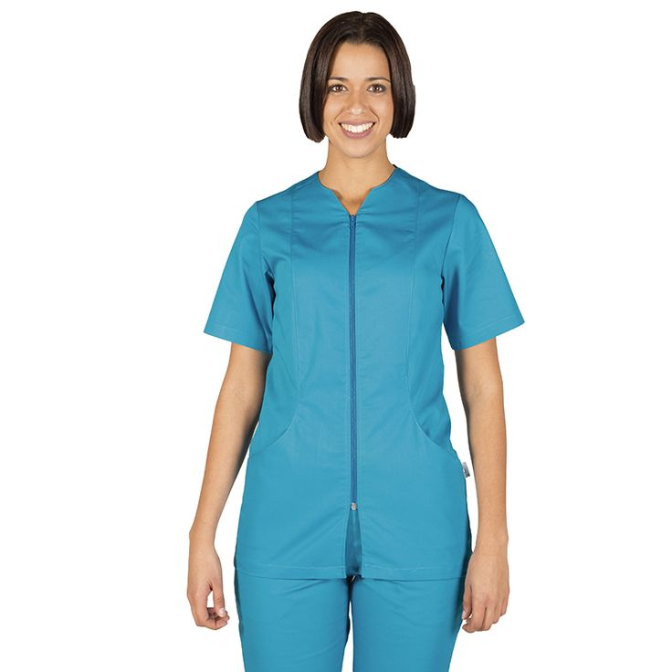 6235 blusa de mujer con cremallera y manga corta en color turquesa