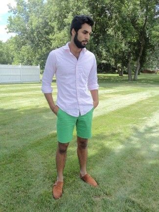 Men's Pink Longsleeve Shirt, Mint Shorts, and Walnut Suede Double Monks