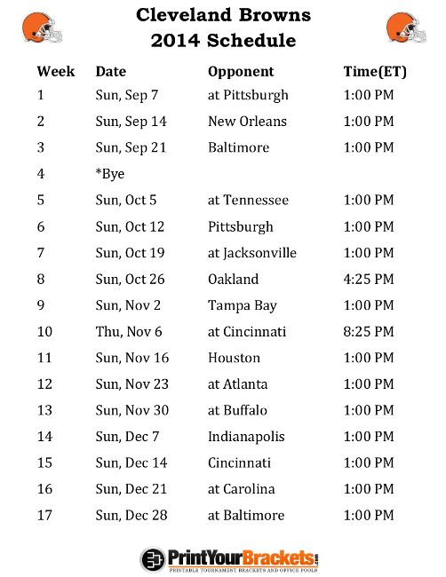 Printable Cleveland Browns Schedule - 2014 Football Season