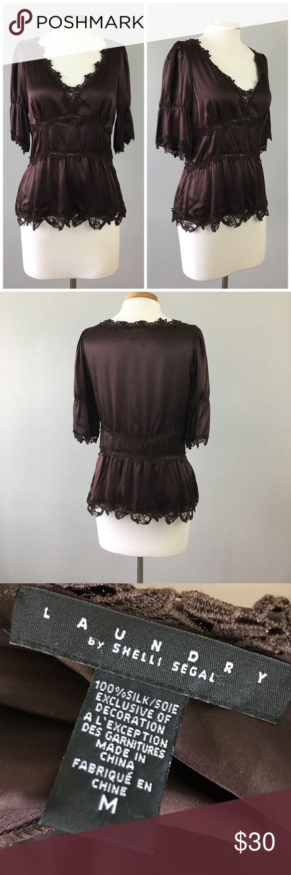 Laundry Shelli Segal Chocolate Brown Lace Blouse Laundry Shelli Segal Chocolate Brown Lace Blouse. Size medium. Gorgeous blouse! Thank you for looking at my listing. Please feel free to comment with any questions (no trades/modeling).  •Fabric: Silk  •Condition: very good, no holes or stains.   ✨Bundle and save!✨10% off 2 items, 20% off 3 items & 30% off 5+ items! KB Laundry by Shelli Segal Tops Blouses
