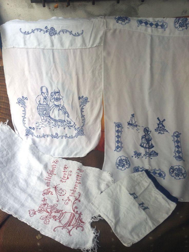 alte Übertücher, Ziertücher,1 Zwiebelsack, handbestickt, blau/rot weiß, Shabby • EUR 24,90 - PicClick DE
