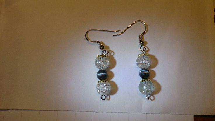 White black cat eye earrings