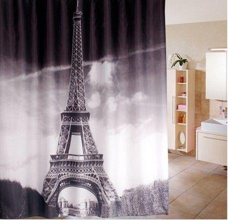 180*180 cm 1 pz parigi tende da doccia disegno resistenza all'acqua tessuto poliestere impermeabile casa bagno tende