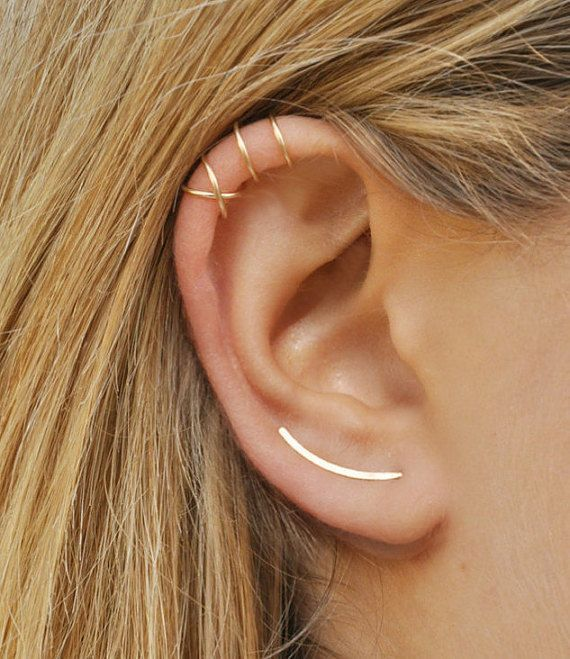 Modern Minimalist Set of 3 – Ear Climber, Smooth Ear Sweeps, Double Ear Cuff, Earring Climbers 20mm, Criss Cross Ear Cuff, Gold Crawlers