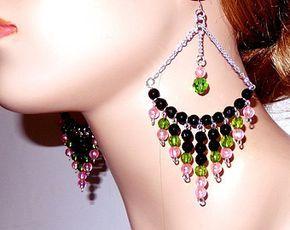 Pink black green large dangle chandelier earrings with chain, lightweight , acrylic earrings, Diva earrings, big bold great for women girls