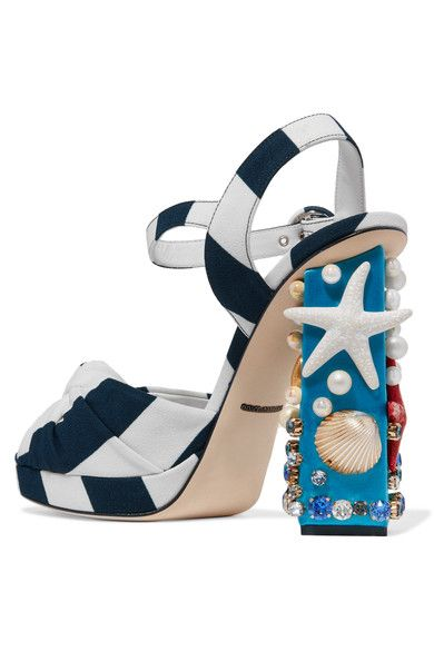 Dolce & Gabbana - Embellished Striped Canvas Sandals - Navy - IT36