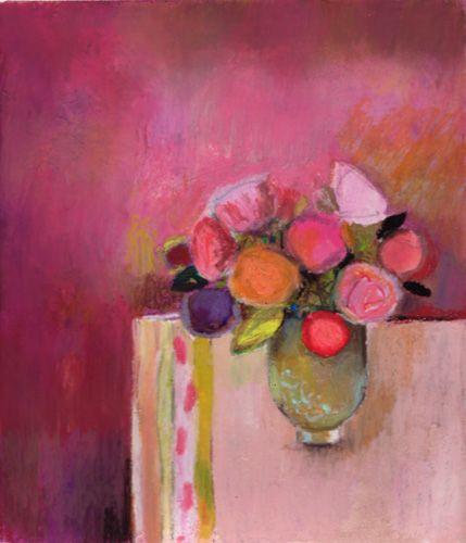 bouquet sur fond parme, Benedicte Garnier