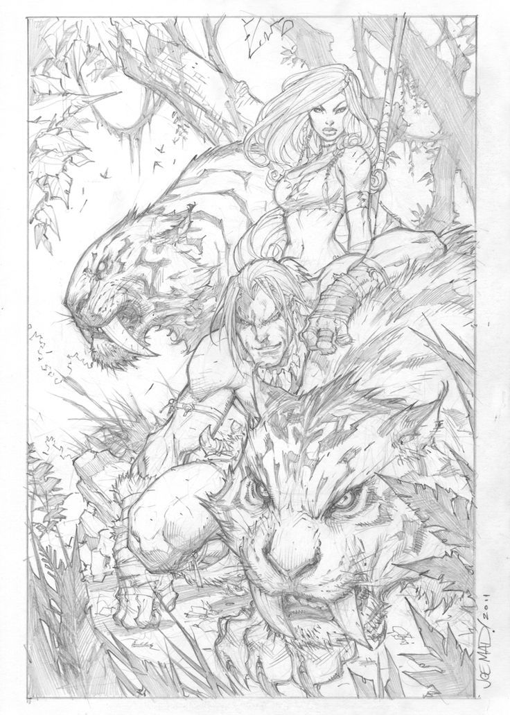Kazar & Shanna pencils | Joe Madureira
