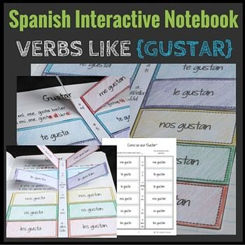Gustar and verbs like gustar can be tricky to explain and remember-- make them hands-on and easy to remember with this Interactive Notebook insert. Lift-up tabs summarize the structures of verbs like gustar, and underneath students can create example sentences.