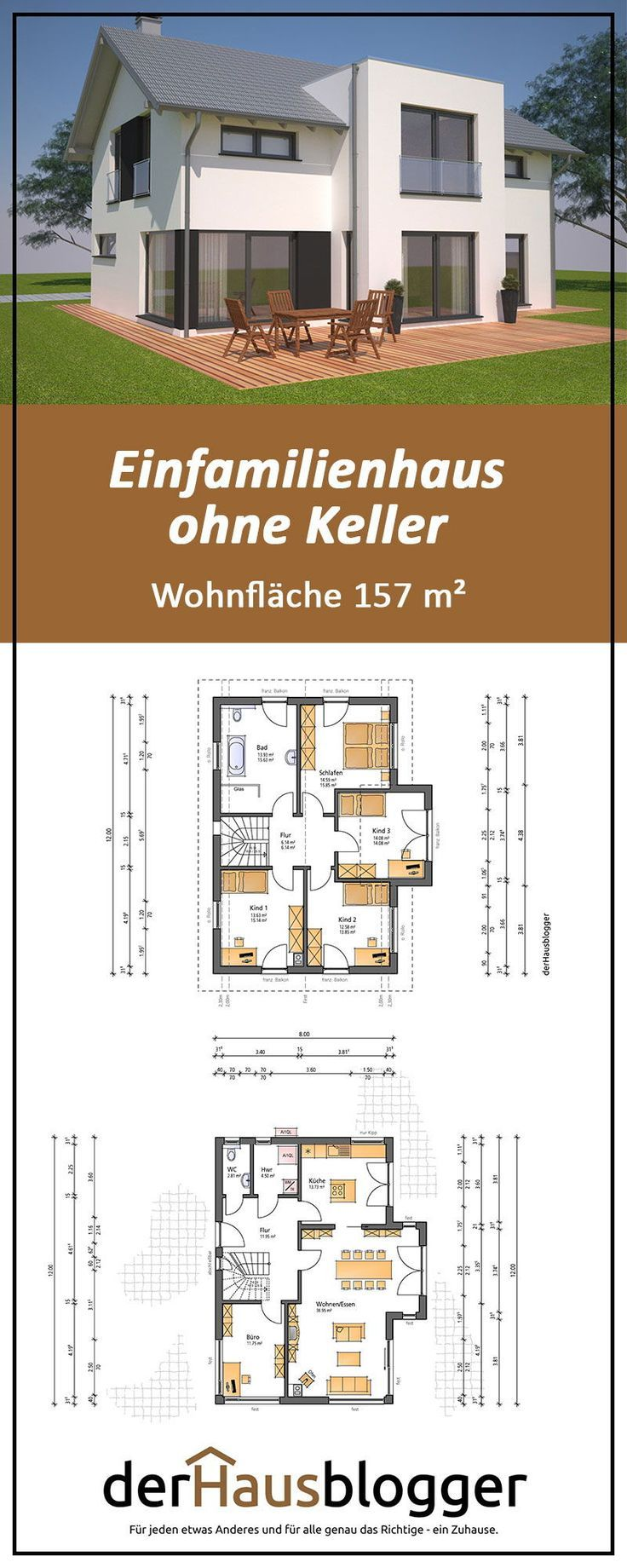 This gable roof house with a floor space of almost 157 m² I have together  – Hausbau Röll