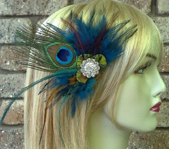 Peacock Fascinator Art Nouveau Weddings Teal Blue by YJCouture