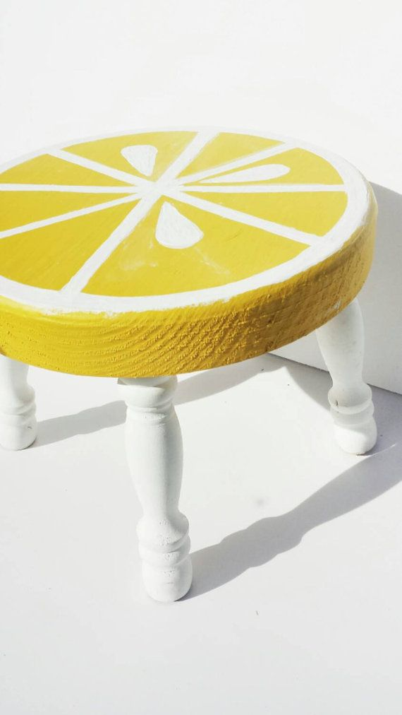 Wooden stool lemon hand painted stool by CreationsByVictoriaa