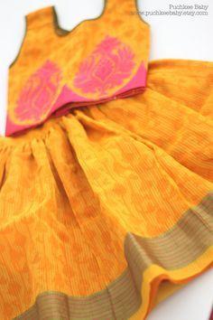 Handmade cotton lehenga choli/ pattu pavadai/ skirt by PuchkeeBaby